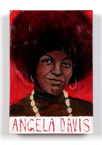 Angela Davis, mixed media on panel. Detail of Hot Topic