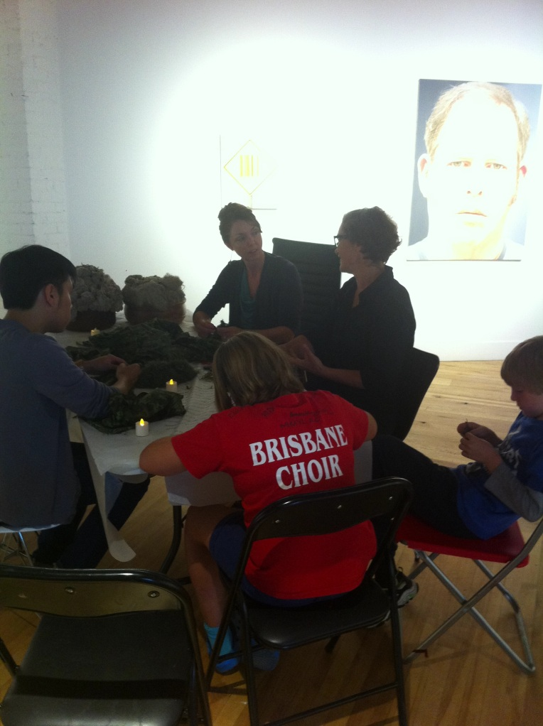"""Participants work with Helene Vosters on her performance """"Unravel"""""""